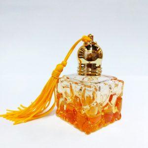 Флакон – ролл Yiwu Yujin 10SY стеклянный   квадратный  желтого цвета    для масляных духов, с кисточкой 10 мл
