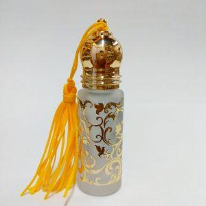 Флакон – ролл   Yiwu Yujin 4RG стеклянный  стеклянный  с золотым принтом  для масляных духов, с кисточкой  4 мл