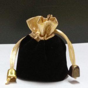 Бархатный подарочный мешочек большой черного цвета с золотым ободком