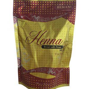Хна для волос коричневая с эфирным маслом Розы Hemani Henna  Brown with Rose 150 грамм