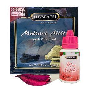 Маска для лица Hemani Multani Mitti with Charcoal 200 грамм