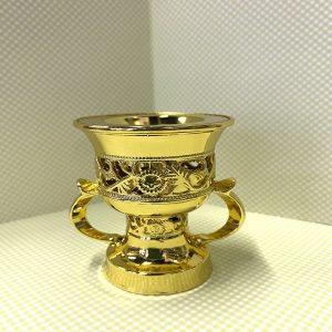 Бахурница металлическая для дома «Кубок» маленькая с ручками